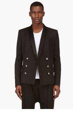 BALMAIN Black Double Breasted Blazer for men