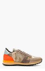 VALENTINO Khaki Camo Low-Top Sneakers for men
