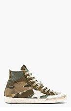 GOLDEN GOOSE Green camouflage FRANCY High-top sneakers for men