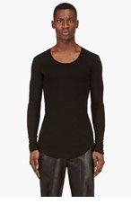 BALMAIN Black U-Neck Long Sleeve T-Shirt for men
