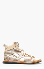 KTZ Beige snakeskin Cut-out Sandals for men