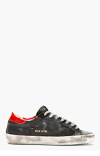 GOLDEN GOOSE Black & Red distressed SUPERSTAR Sneakers for men