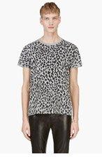 SAINT LAURENT Grey & Black Leopard Print T-Shirt for men