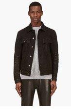 BALMAIN Black Distressed Denim Jacket for men