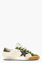 GOLDEN GOOSE Green & Grey Leather Superstar Sneakers for men