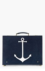 THOM BROWNE Blue Pebbled Suede Anchor Briefcase for men