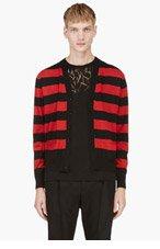 SAINT LAURENT Red & Black Striped Y-Front Cardigan for men