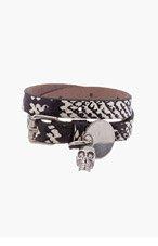 ALEXANDER MCQUEEN Black & beige Double Wrap Skull Charm Bracelet for men