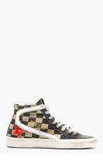 GOLDEN GOOSE Khaki & Charcoal check Slide Sneakers for men