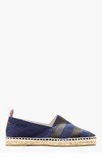 CASTAÑER Navy Canvas Striped Pablo Slip-On Shoes for men