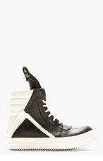 RICK OWENS Black & Ivory Geobasket High-Top Sneakers for men