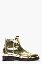 JUUN.J METALLIC GOLD Leather BOOTS for men