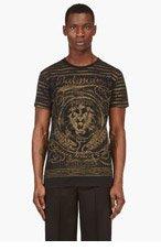 BALMAIN Black LION & Laurel T-shirt for men