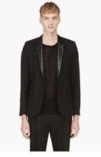 SAINT LAURENT Black Leather Lapel Blazer for men