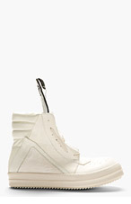 RICK OWENS Ecru & Ivory High-Top Sneakers for men