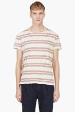 LEVIS VINTAGE CLOTHING Beige & Red striped 1930'S BAY MEADOWS T-shirt for men