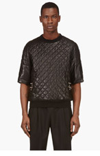 BALMAIN Black Short-Sleeve Quilted Leather Top for men