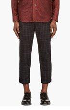 JUNYA WATANABE Black Cropped Check Print Trousers for men