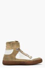 DIESEL BLACK GOLD White & Beige Distressed Allen-MB High-Top Sneakers for men