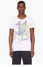 BALMAIN White Anchor print t-shirt for men