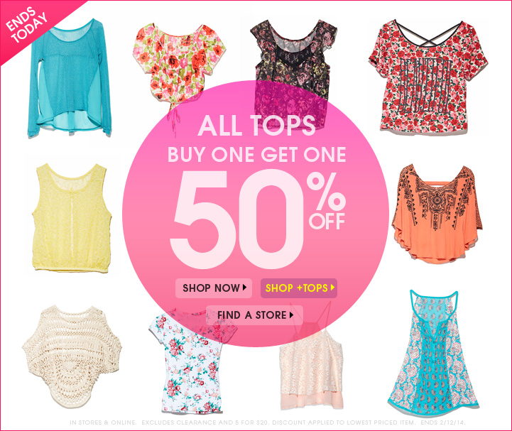 All Tops Buy 1 Get 1 50% OFF!