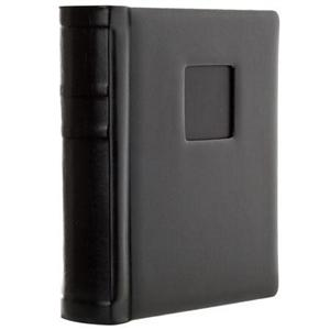 """Adorama - Flashpoint Pro Book Bound Album, Holds 18 4x6"""" Photos, Leatherette Cover WithWindow, Color: Black Pages, Black Cover."""
