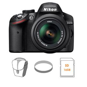 Adorama - Nikon D3200 Digital SLR Camera with 18-55mm NIKKOR VR Lens, Black - Bundle - with 16GB SD Memory Card, Camera Bag, Pro Optic 52mm Photo Essentials Filter Kit