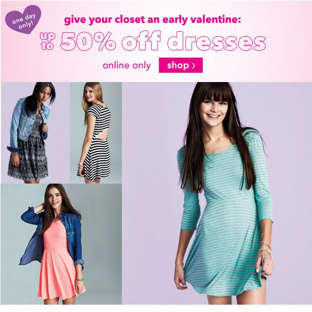 dresses up to 50% off online & stores