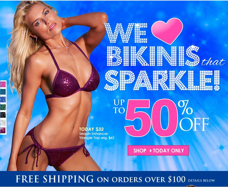 Up to 50% OFF! We LOVE Bikinis that SPARKLE - and so will YOU!