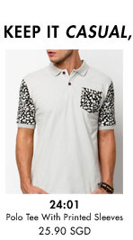 Polo tee with printed sleeves for 25.60SGD