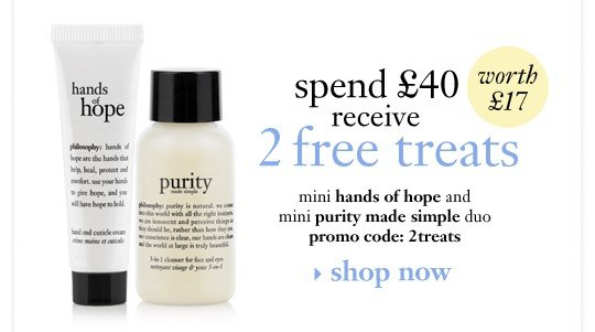 when you spend £40 receive 2 free treats mini hands of hope and purity made simple duo promo code: 2treats