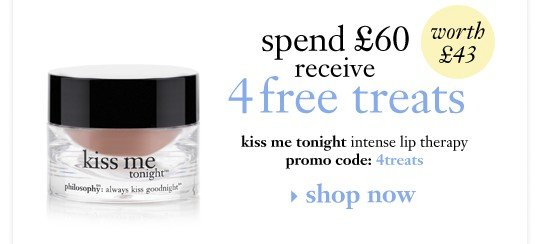 when you spend £60 receive a 4th free treat kiss me tonight intense lip therapy promo code: 4treats