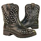 Xelemenet Womens Cowgirl Stud Leather Boots