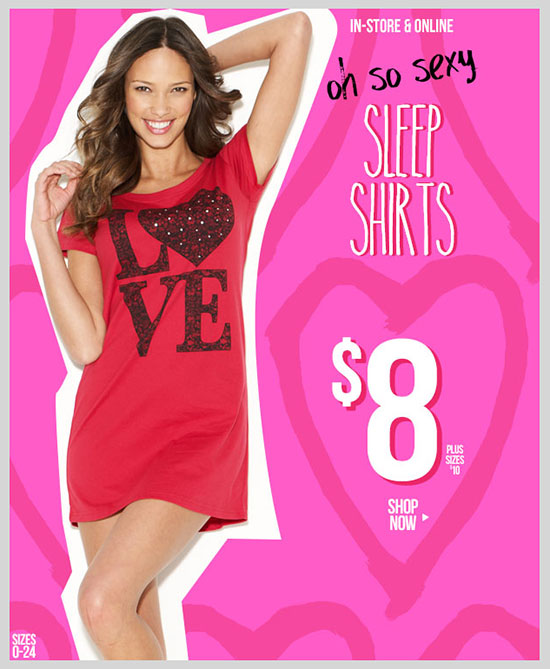 Valentine's Day COllection! Oh So Sexy Sleep Shirts - $8! Plus Sizes - $10. Shop Now!