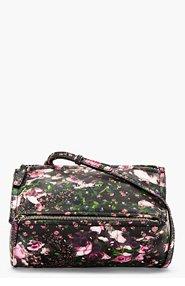 GIVENCHY Black Leather Floral Mini Pandora bag for women