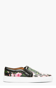 GIVENCHY Black Leather Floral Print Slip-On Shoes for women