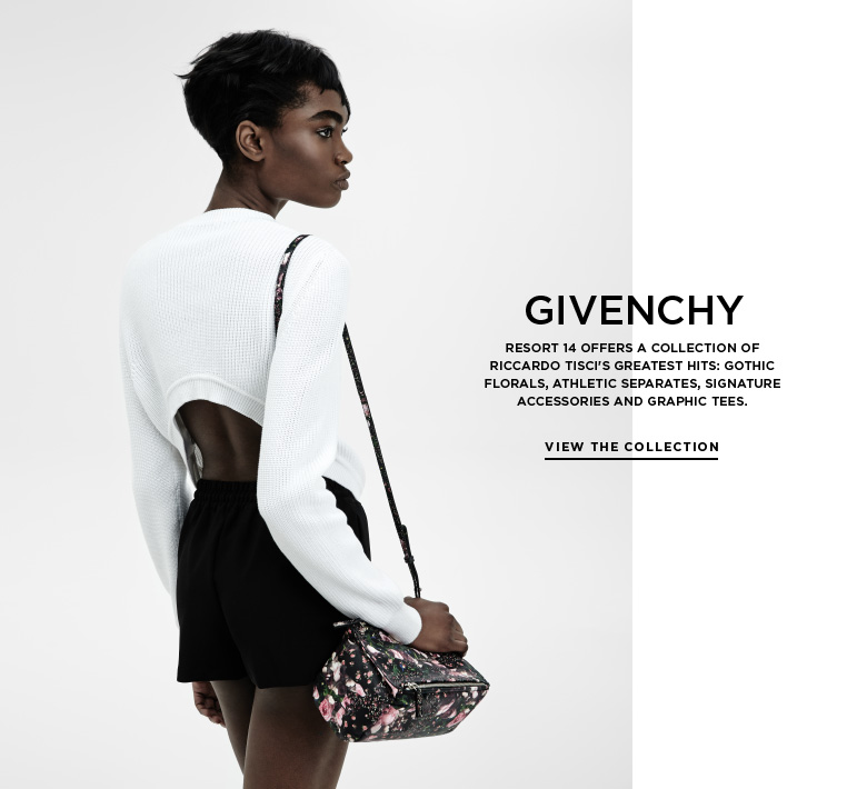 Simplicity and streetwear from Givenchy Resort 14 offers a collection of Riccardo Tisci's greatest hits: gothic florals, athletic separates, signature accessories and graphic tees.