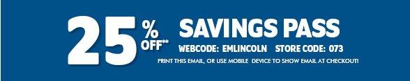 25% Off Savings Pass