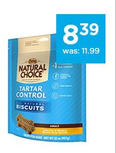 Nutro Natural Choice Tartar Control All Natural Dog Biscuits only $8.39