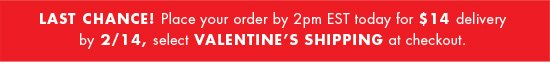 VALENTINE'S DAY SHIPPING