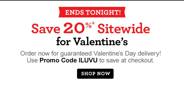 ENDS TONIGHT! Save 20%* Sitewide for Valentine's Day  Order now for guaranteed Valentine's Day delivery! Use Promo Code ILUVU to save at checkout.  Same-Day Delivery Still Available!  Shop Now