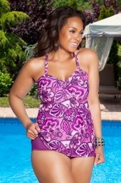 Women's Plus Size Swimwear - Always For Me Separates  - Sorbet Twist Bandeau Top