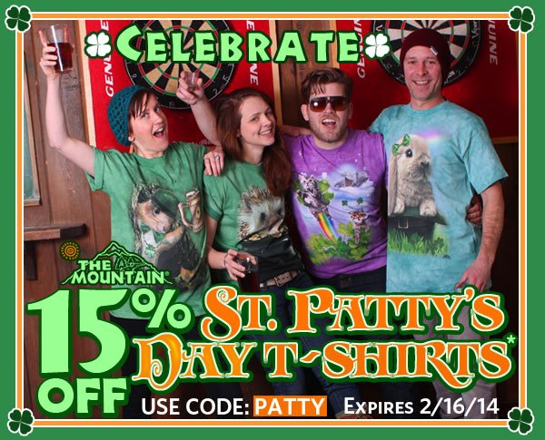 Celebrate! 15% OFF St. Patty's Day T-Shirts. Use Code: PATTY expires 2/16/14