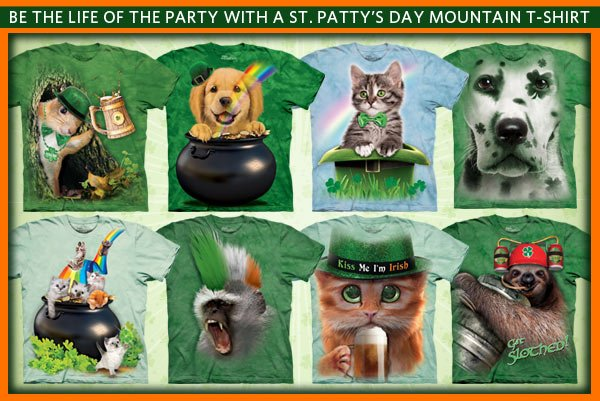 Be the life of the party with a St. Patty's Day Mountain T-Shirt!