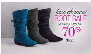 Last chance! Boot sale savings up to 70%