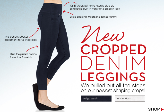 New Cropped Denim Leggings! We pulled out all the stops on our newest shaping crops. Shop!