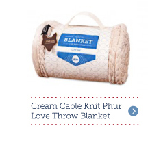 Cream Cable Knit Phur Love Throw Blanket
