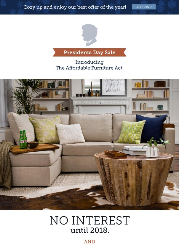 Presidents' Day Sale! Introducing the Affordable Furniture Act - No Interest Until 2018!