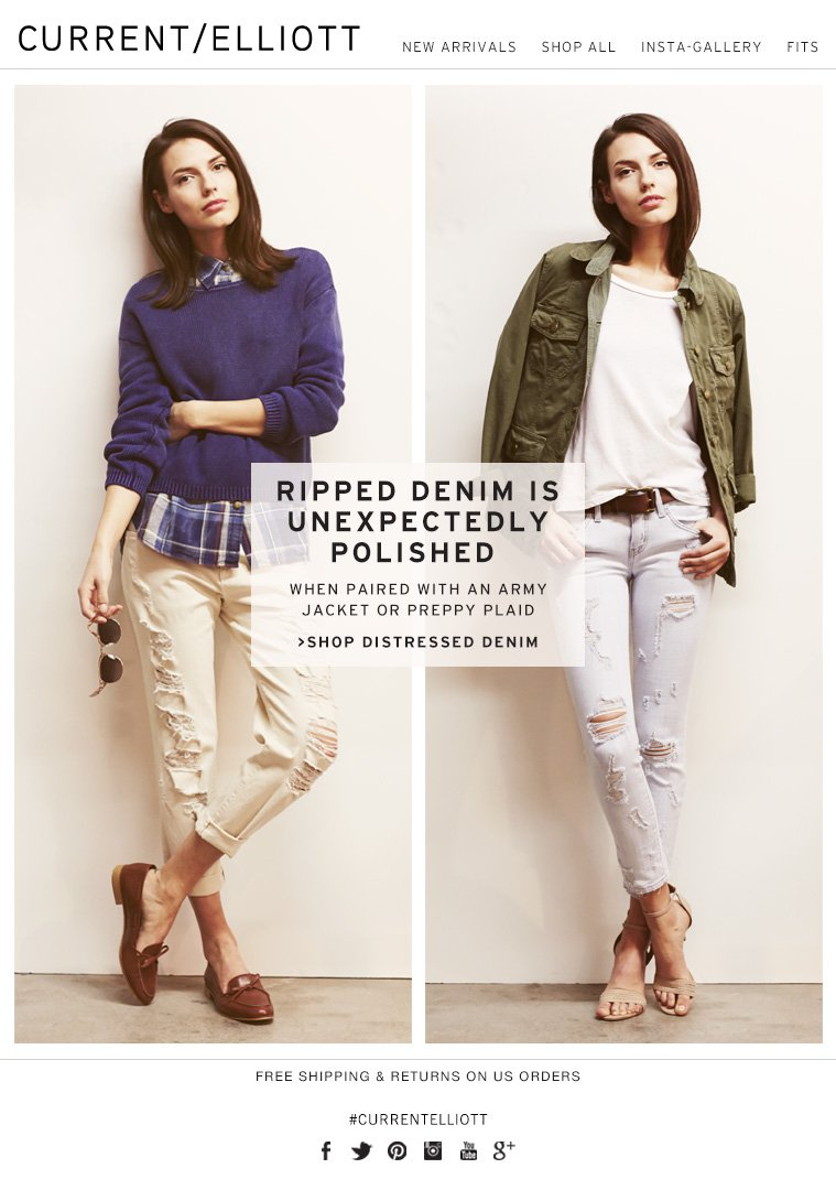 RIPPED DENIM IS UNEXPECTEDLY POLISHED WHEN PAIRED WITH AN ARMY JACKET OR PREPPY PLAID >SHOP DISTRESSED DENIM