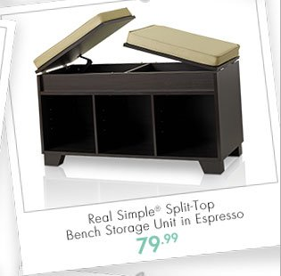 Real Simple® Split-Top Bench Storage Unit in Espresso 79.99